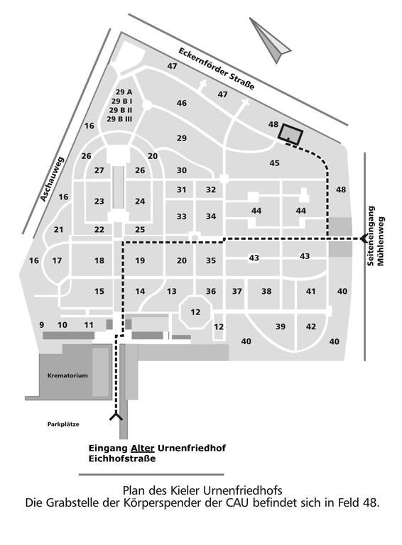 Plan des Kieler Urnenfriedhofs